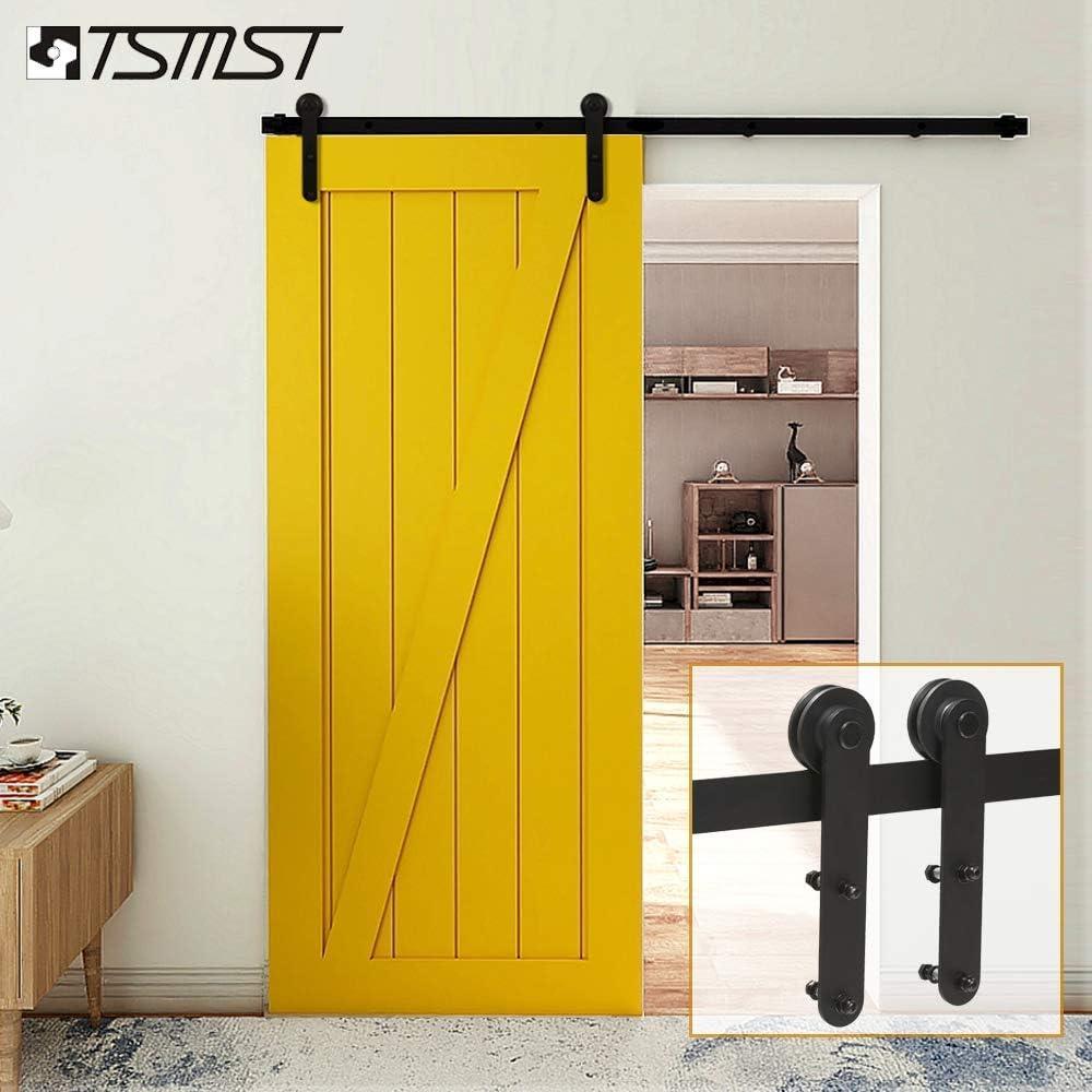 TSMST kit de herramientas para puerta corredera de granero de una sola puerta para armario, rodadura, rueda de rodadura suave y silenciosa, percha de forma redonda: Amazon.es: Bricolaje y herramientas