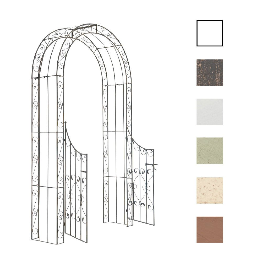 CLP Rose Arch with Gate SINA, made of powder-coated iron, 245 x 135 x 42 cm (H x W x D), choose from up to 6 colours bronze