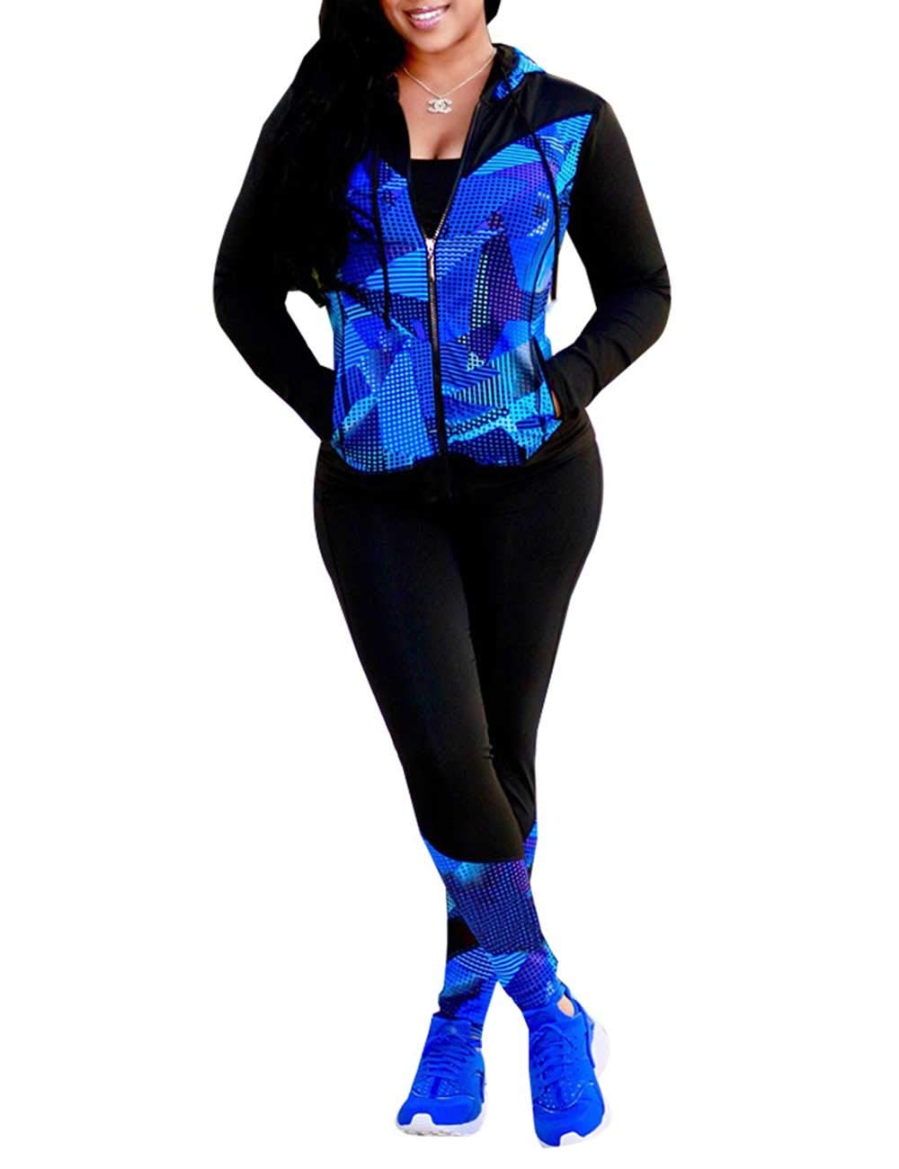 Autumn Long Sleeve 2 Piece Outfit Full Zip Up Jacket+Skinny Pants Set for Young Ladies Blue XXL