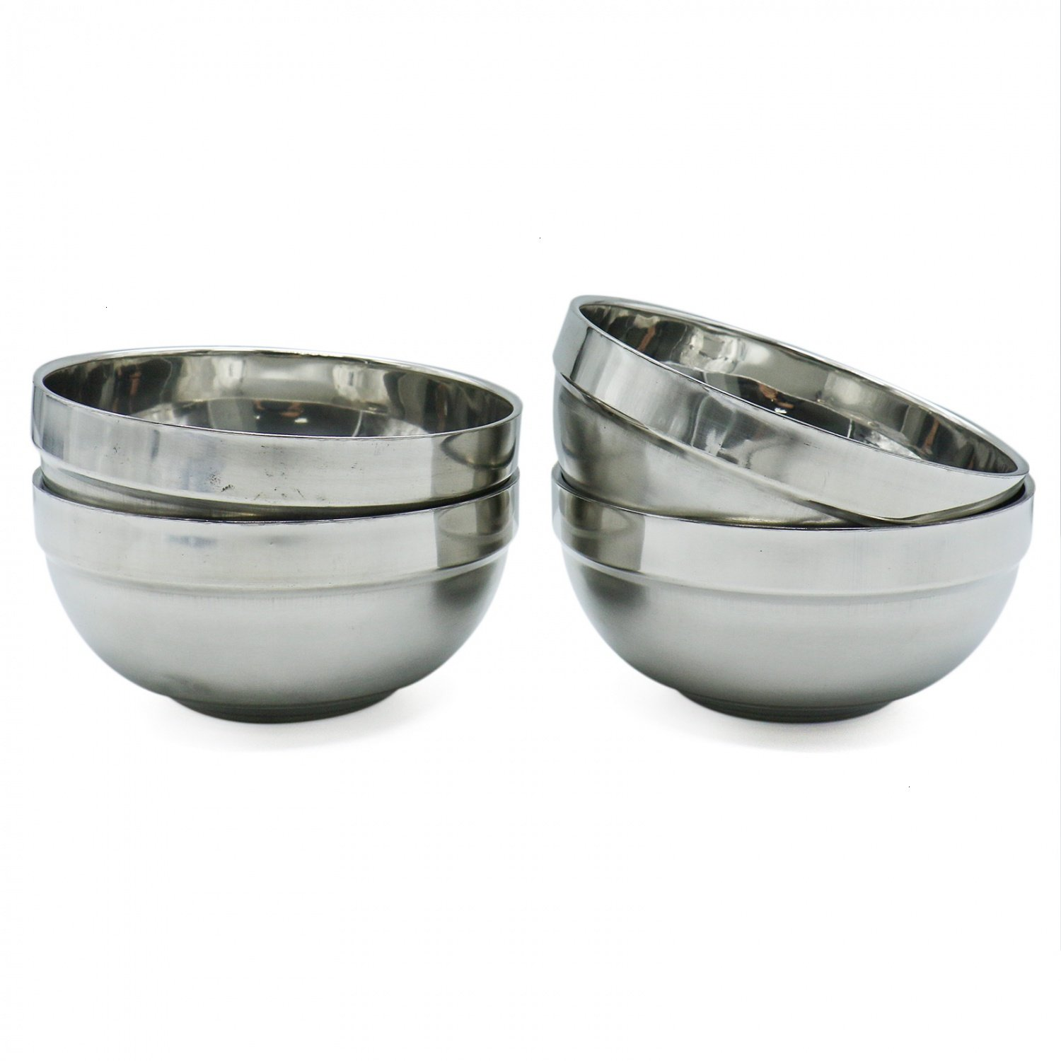 HUELE Mirror Pollished Double-Wall Insulated Stainless Steel Soup Bowl Kitchen Series Dessert Bowls for Cereal Soup Rice & Snacks, Set of 4