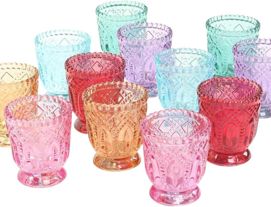 Koyal Wholesale Jewel Tone Votive Vintage Glass Candle Holders, 6-Pack, Multicolor Jewel Candle Set of Votives