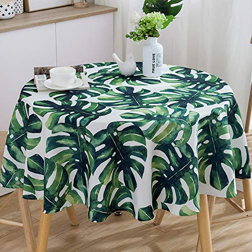 "JZY Waterproof Heavy Cotton Tablecloth for Rectangle Table Wipeable Table Cloth for Kitchen Dining Table (Round, 60"", Palm Leaf)"