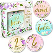 Baby Monthly Milestone Stickers - (Set of 24) Premium Metallic Gold Floral Stickers for Newborn Girl First Year - Best Baby Shower Registry gift or Scrapbook Photo Memory Keepsake