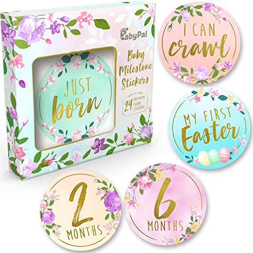 Baby Monthly Milestone Stickers - (Set of 24) Premium Metallic Gold Floral Stickers for Newborn Girl First Year - Best Baby Shower Registry gift or Scrapbook Photo Memory Keepsake by BabyPal