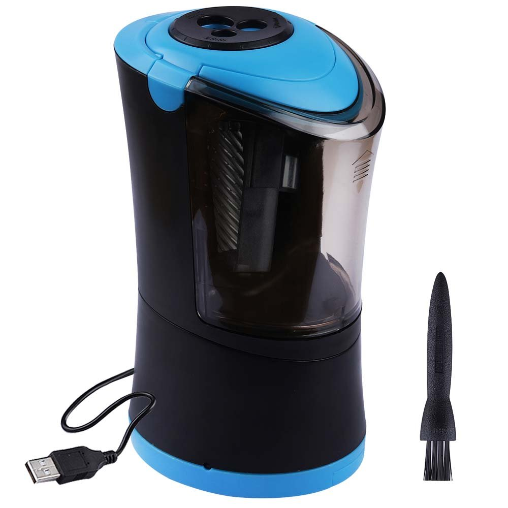 Electric Pencil Sharpener Heavy Duty Helical Blade, Auto-Stop Feature, 3 Size Holes, Fast Quiet USB Automatic Colored Pencil Sharpener for School Office Artists Students Kids- Black