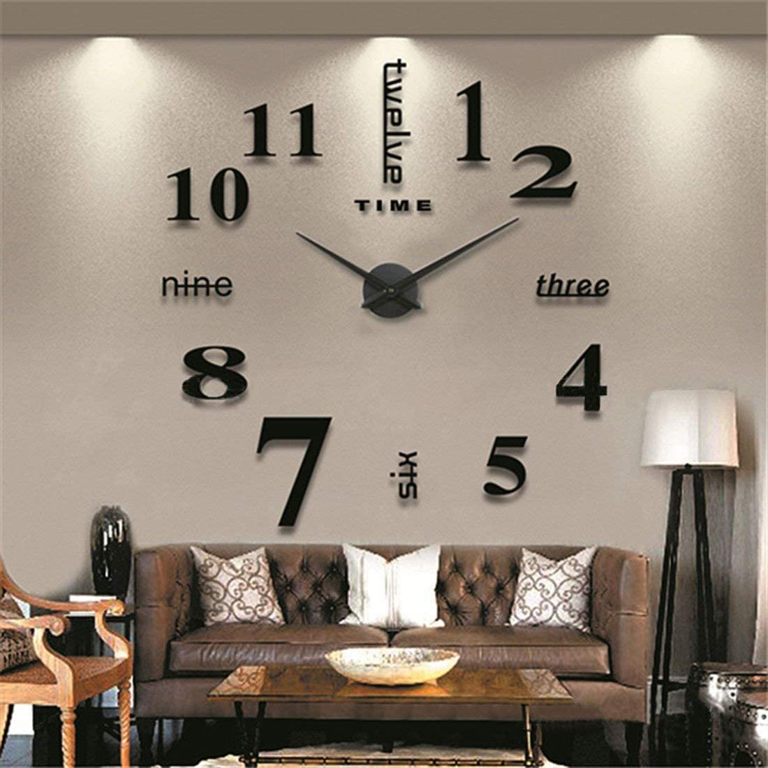 Fanyuanfds Frameless DIY Wall Clock,Large 3D Mirror Wall Clock Home Decorations for Home Living Room Bedroom Office Decoration (WL03-Black)