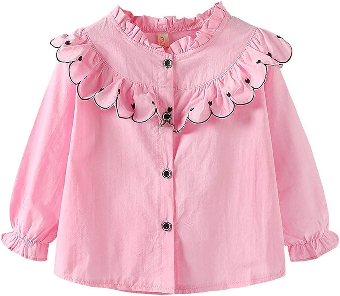 Camisa de Primavera para niñas Cuello de Encaje Coreano Camisa Casual de Manga Larga Camisa Femenina de bebé extranjera Marea - Rosa + 100cm: Amazon.es: Ropa y accesorios