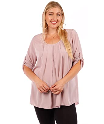 Yummy Plus Roll Sleeve Plus Size Blouses Sizes 1x 2x 3x At Amazon