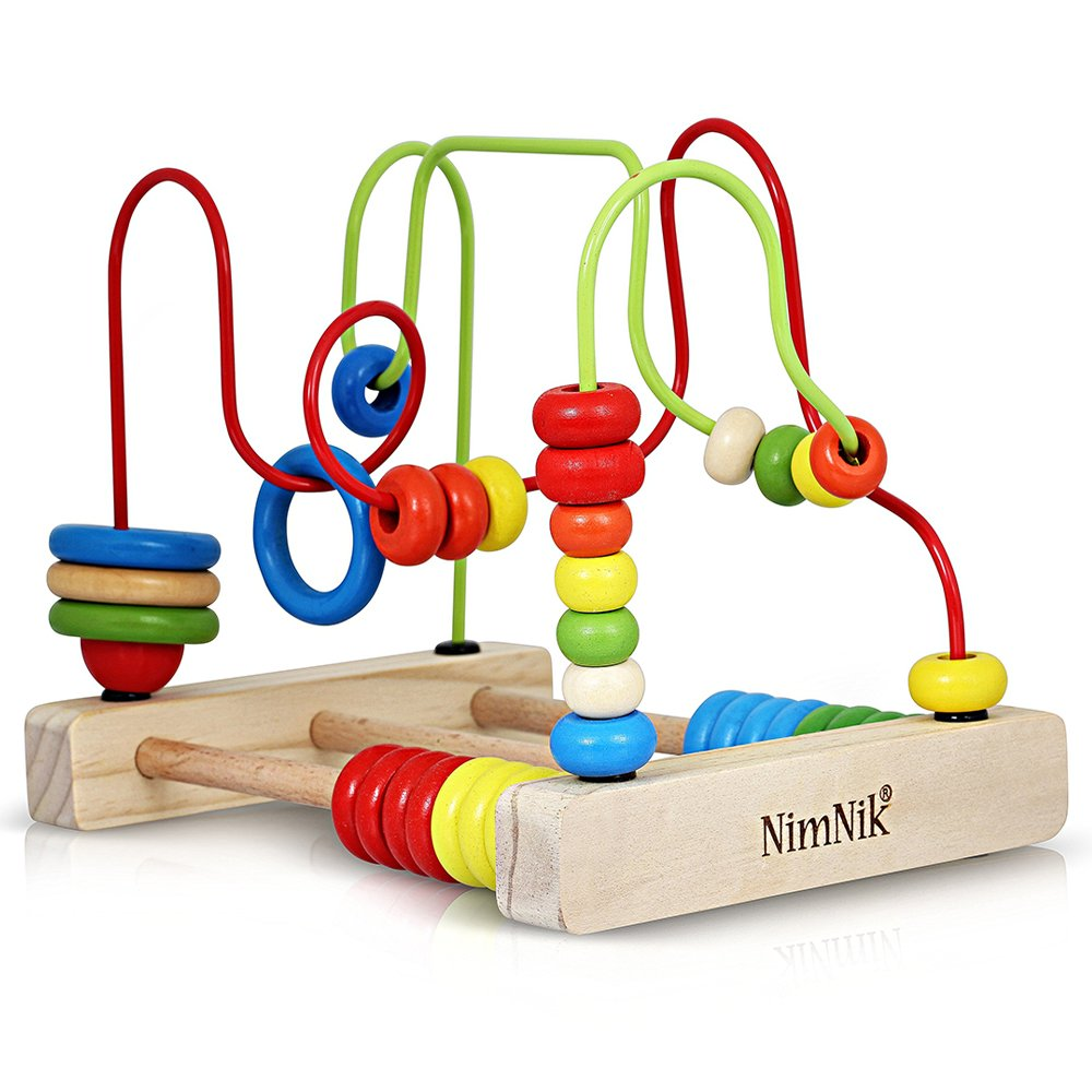 Klassisches Perlen-Labyrinth-Würfel-Spielzeug für Babys Kleinkind-hölzernes Achterbahn-Perlen-frühes Lernen spielt für 3 Jährige durch NimNik NMNK-WT-02