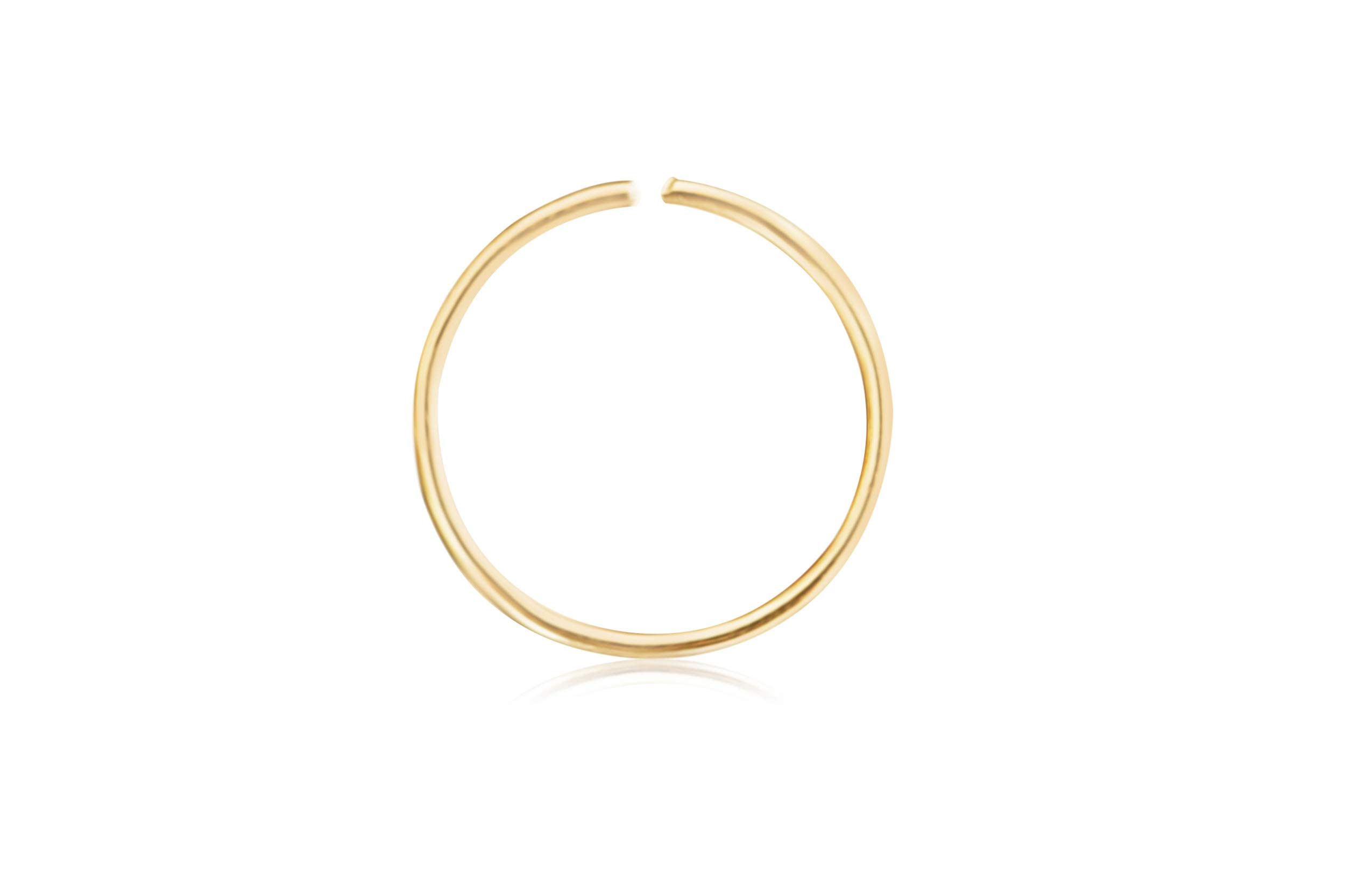 ONDAISY 10K Solid Gold Open Tragus Cartilage Snug Daith Helix Inner Outer Conch 6mm Round Large Big Tiny Small Thin Mini Face Nose Septum Hoop Ring Ear Piercing Earring For Women Girls Men by ONDAISY