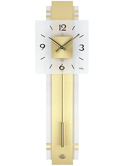 Reloj De Péndulo AMS Reloj de pared 7301 cuarzo con péndulo Madera posterior latón - Cojines Cristal Mineral: Amazon.es: Joyería