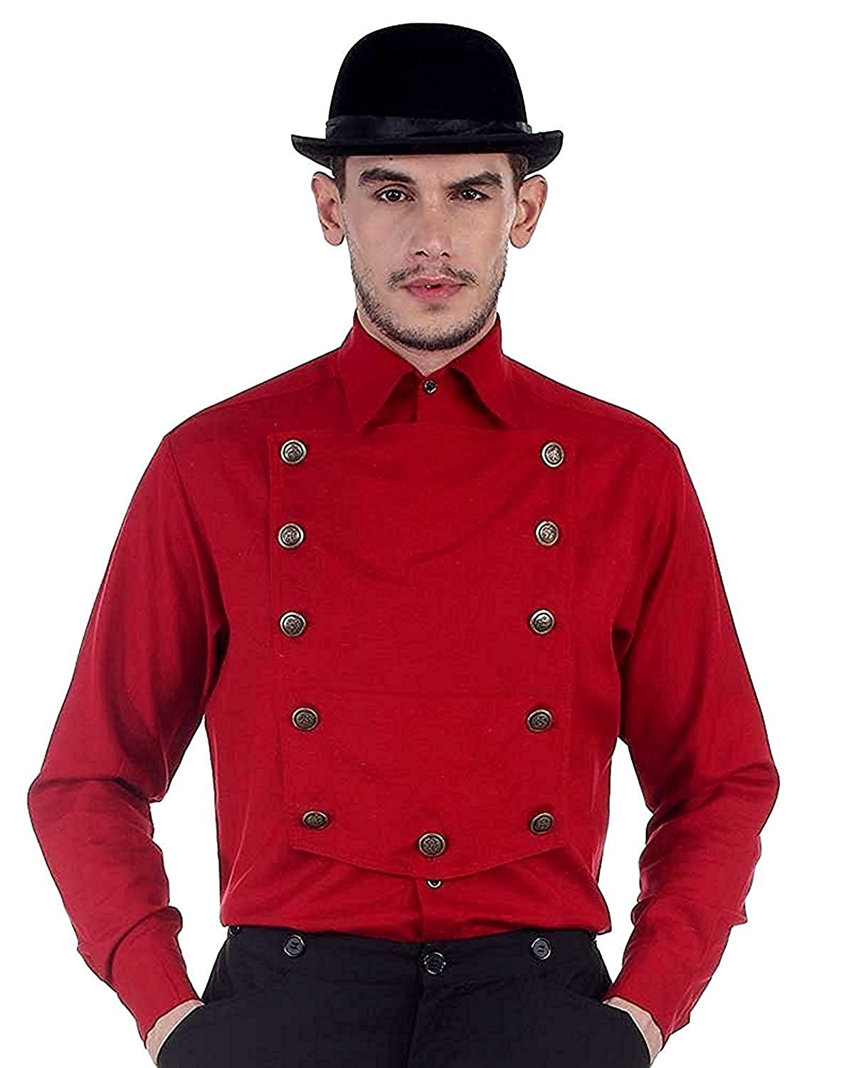 ThePirateDressing Steampunk Victorian Cosplay Costume Mens Linen Airship Shirt C1290 C1290-Parent