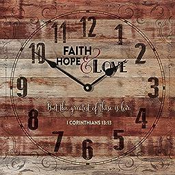Faith Hope and Love 1 Corinthians 13:13 Rustic 14 x 14 Wood Wall Clock Sign