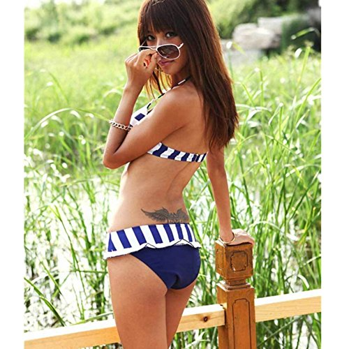 Aidonger 3-piezas traje de baño Para mujer de raya bikini-set Bañadores swimwear Azul