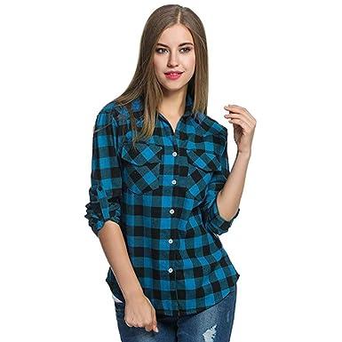 5173d35960 Oksale Women's Tartan Plaid Flannel Shirts Roll Up Sleeve Tops Blouse Small  Blue