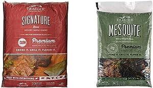 Traeger Grills PEL331 Signature Blend 100% All-Natural Hardwood Pellets (20 lb. Bag) & Grills PEL305 Mesquite 100% All-Natural Hardwood Pellets Grill, Smoke, Bake, Roast, Braise and BBQ, 20 lb. Bag