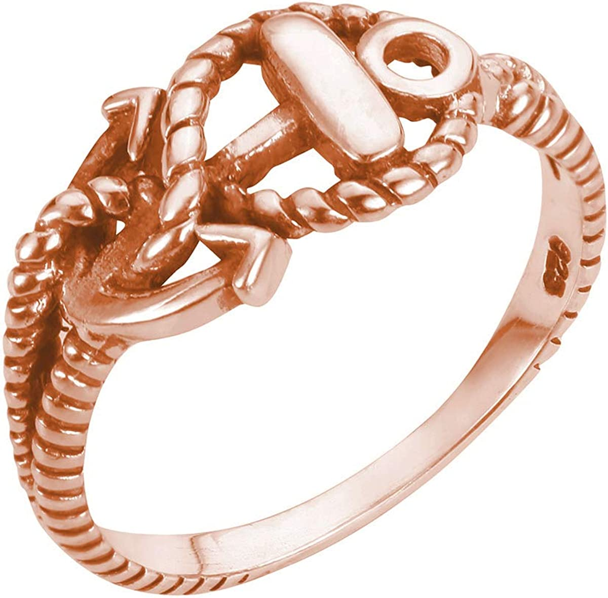 CloseoutWarehouse Sterling Silver Anchor of Hope Ring (Color Options, Sizes 2-15)