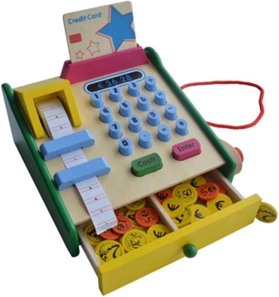 Caja registradora de madera simulación de juguete cajero ...