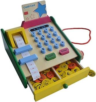 Caja registradora de madera simulación de juguete cajero supermercado supermercado juguetes educativos accesorios de vacaciones regalos de cumpleaños entretenimiento interacción de múltiples personas: Amazon.es: Juguetes y juegos