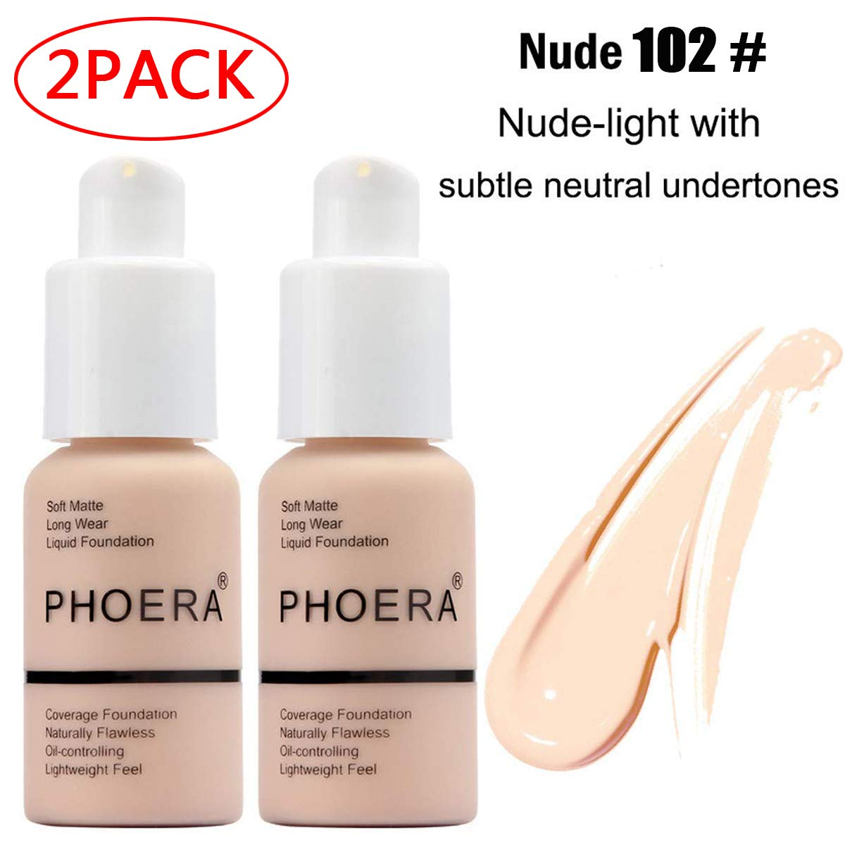 2 Pack Phoera Foundation,Durable waterproof matte foundation, matte oil control concealer foundation cream, 102 Nude-30ml