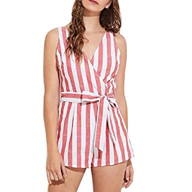 f71513124ac Gaddrt Jumpsuits Women Sexy Mini Long Red Striped