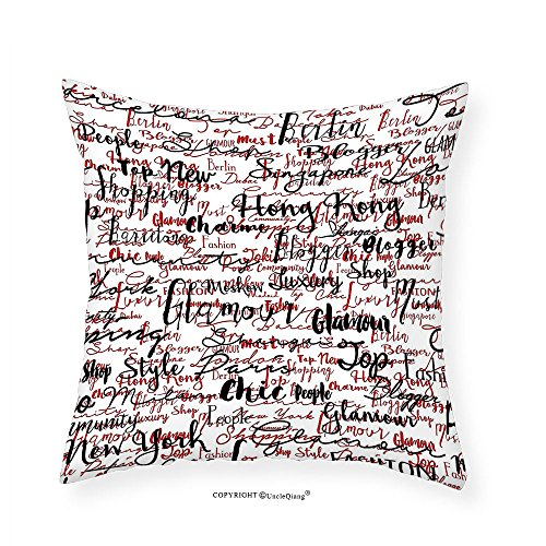 VROSELV Custom Cotton Linen Pillowcase Modern Decor Ink Handwritten Popular Country Capitals with Fashion Fancy Words Art for Bedroom Living Room Dorm Red Black and White 20