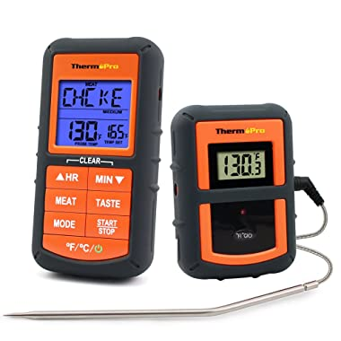 ThermoPro TP-07 Wireless Remote Digital Cooking Food Meat Thermometer for Grilling Oven Kitchen Smoker BBQ Grill Thermometer with Probe, 300 Feet Range