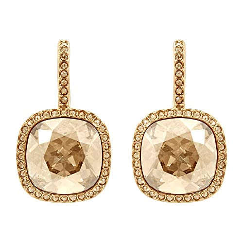 Swarovski Crystal Lattitude Gold-Plated Leverback Earrings