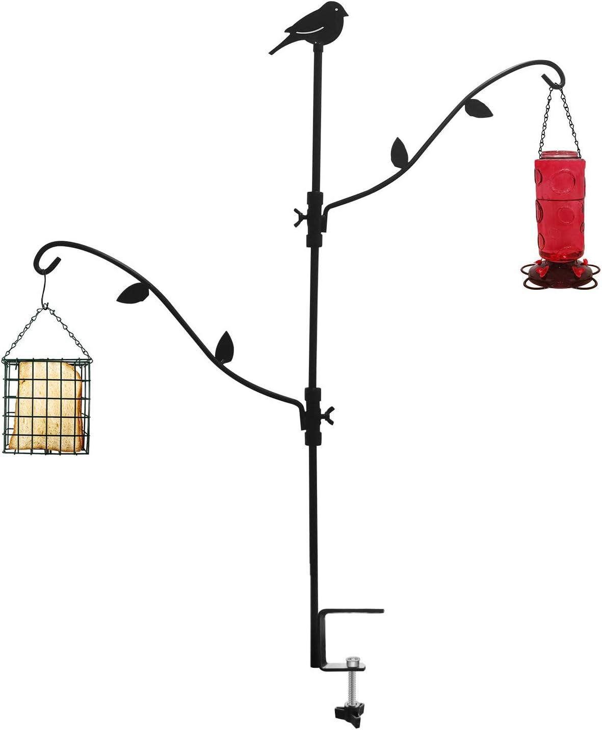 Deck Bird Feeder Pole Bird Feeder Porch Multi-Hook Bird Feeder Hooks for Deck Kit with Two Adjustable Branches