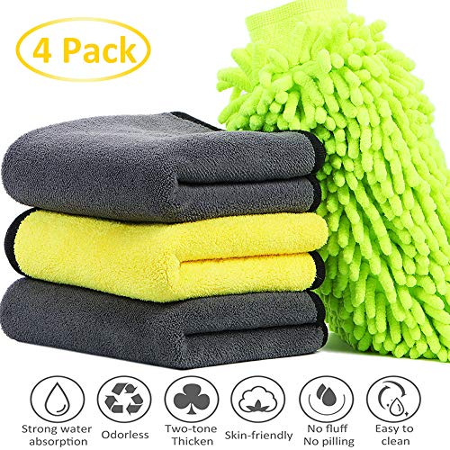 Gugusure Car Drying Towel, Microfiber Towels for Home, Detailing Or Drying Towels for Cleaning Car Windows, Big Size Premium Professional Soft Microfiber Towels, 11.8'' x 23.6'' (3Towels + 1 Mitt)