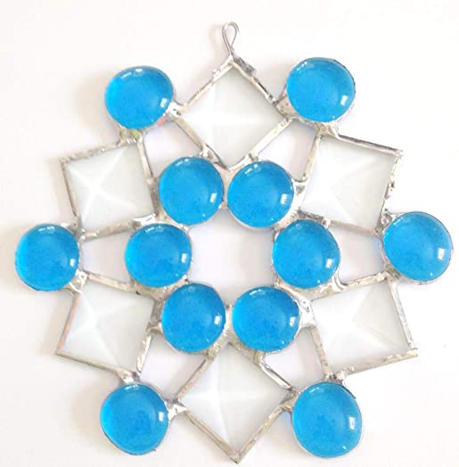 Crystal Clear Images 5 Stained Glass Turquoise Blue Snowflake Suncatcher