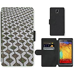PU LEATHER case coque housse smartphone Flip bag Cover protection // M00150389 Lejos adoquines Piedras Steinig // Samsung Galaxy Note 3 III N9000 N9002 N9005