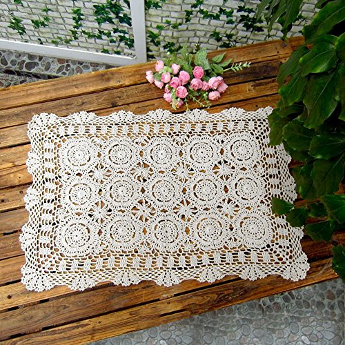 Laivigo Handmade Crochet Lace Rectangle Lucky Flower Table Cloth Runner Doilies Doily,White,20x35 Inch (Doily White Vintage)