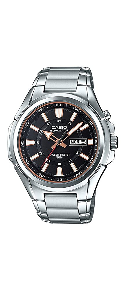 Amazon.com: Casio MTP-E200D-1AV Mens Stainless Steel Illuminator Day Date Black Dial Watch: Watches