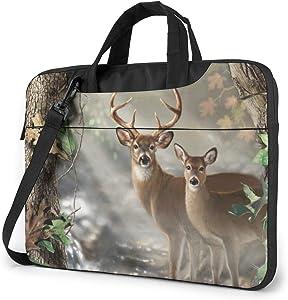 Deer Hunting Camo Laptop Shoulder Messenger Bag, 14 Inch Notebook Sleeve Carrying Case with Trolley Belt for Lenovo Acer Asus Dell Lenovo Hp Samsung Ultrabook Chromebook