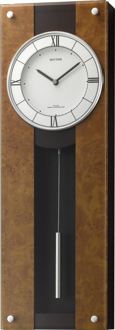 リズム時計 掛け時計 電波 アナログ 振り子 モダンライフM01 木 茶 (半艶仕上げ) RHYTHM 4MXA01RH06 B00OPSPX32