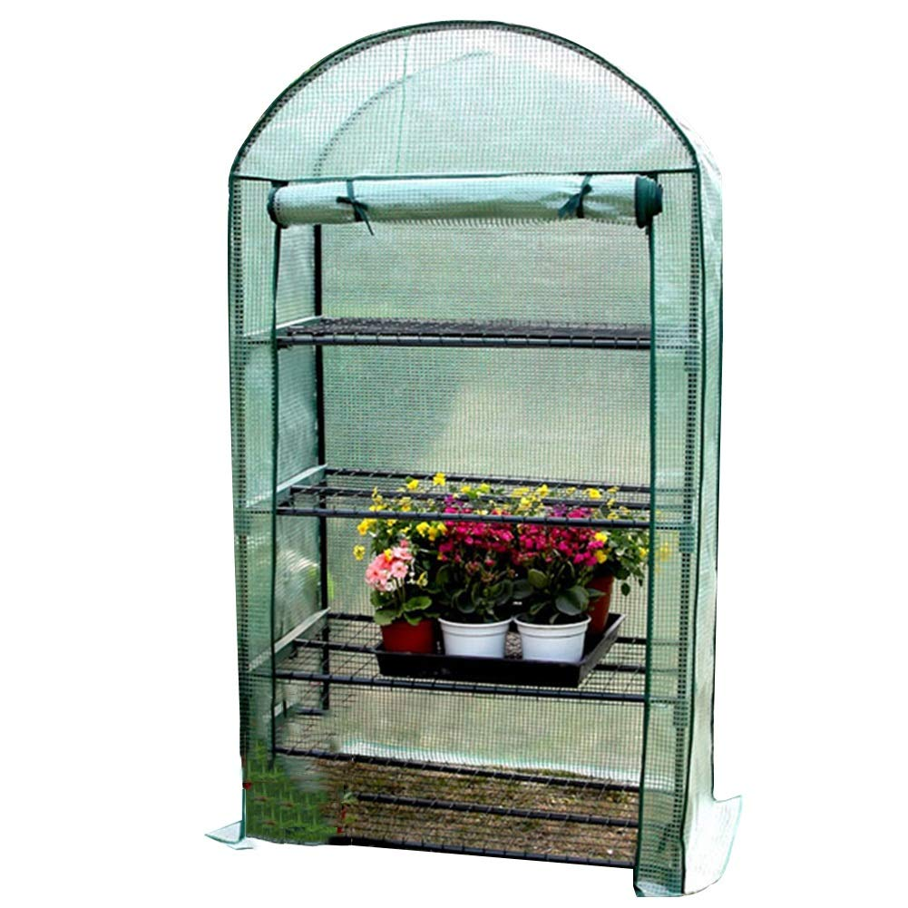 Green-4 Tier HAIPENG-greenhouse Garden Growhouse Hothouse Plant Portable with Roll Up Door Reinforced PE Cover Cold Frames (color   Green-4 Tier)