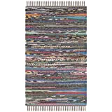 Safavieh RAR121E-2 Rag Rug Collection Hand Woven Rust/Multi Cotton Area Rug, 2-Feet by 3-Feet
