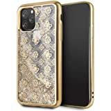 Guess 4G Peony Liquid Glitter TPU case for apple iPhone 11 Pro,Gold
