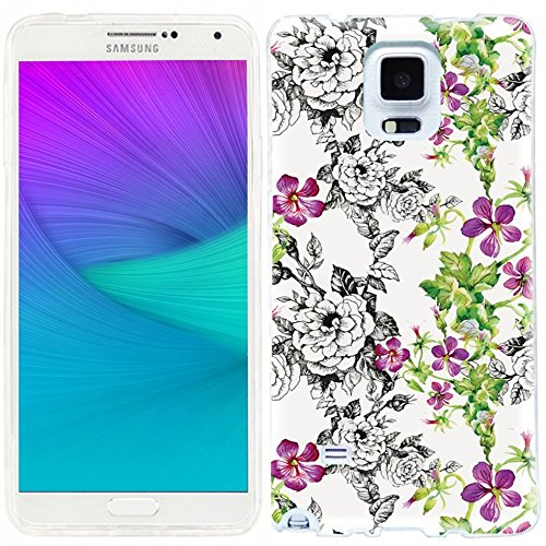note 4 Case,note4 case,Samsung note 4 Case,Galaxy note 4 Case,ChiChiC full Protective unique Case slim durable Flexible Soft TPU Cases Cover for Samsung Galaxy Note 4 SM-N910S SM-N910C,vintage hand drawn black pink flower and green leaves on white background