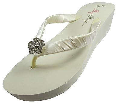 Amazon.com | Bridal Flip Flops Wedding Ivory Wedge White Platform ...