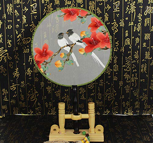 Handmade Embroidery Needlework Silk Fan Rare Double-Side 3D Lifelike Birds Stitching Needlework Hand Round Fan Chinese Cultural - Bird Embroidery Silk