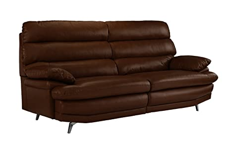 Divano Roma Furniture Classic Real Leather Sofa Couch (Dark Brown)
