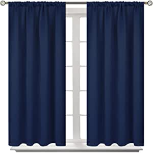 Bgment Rod Pocket Blackout Curtains For Bedroom Thermal Insulated Room Darkening Curtain For Living Room 42 X 45 Inch 2 Panels Navy Blue Furniture Decor