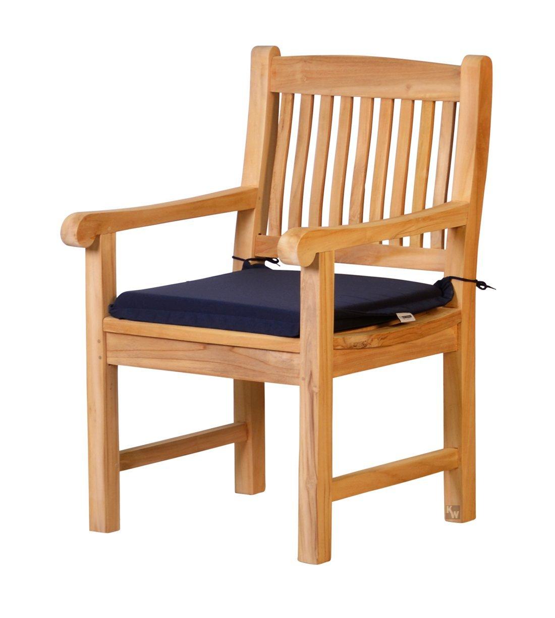 4 x stuhlauflage aus lichtechtem dralon 50 x 45cm dunkelblau waschbar hoher sitzkomfort ko. Black Bedroom Furniture Sets. Home Design Ideas