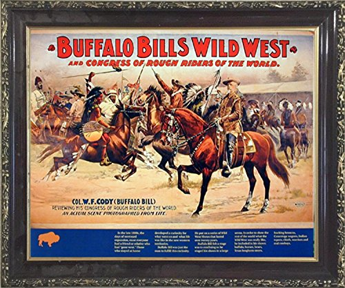 (Impact Posters Gallery Wild West Buffalo Bill's Western Rough Riders Horses Wall Mahogany Black Framed Picture Art Print)