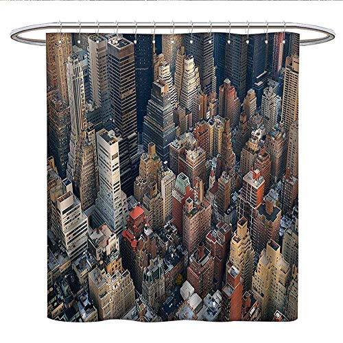 NYC Decor Collectionfunny Shower curtainManhattan Skyline Aerial View with Street Skyscrapers Avenue and Buildings ScenePlastic Shower curtainBeige Gray Brown