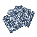 Roostery Tile Indian Colonial Floral Porcelain China Blue Linen Cotton Dinner Napkins Bourgogne Tile ~ Lonely by Peacoquettedesigns Set of 4 Dinner Napkins