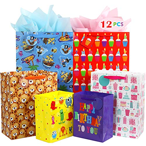 Fzopo Kids Birthday Gift Bag Assortment, Heavy Duty Paper Gift Bags, Red, Blue, Purple, Yellow, Brown (Pack of 12 Small, Medium, Extra Large Bags for Birthdays, Kid Party, Children's Day)]()