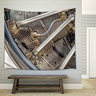 Stunning Work of Art, Quality Artwork, Old Airplane Iron Propeller Engine Detail Fabric Wall